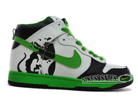 Brass Monki Customs Nike Dunk High Black White Green