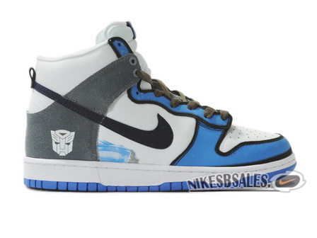 Grey Nike Dunks High Transformer Custom White Blue
