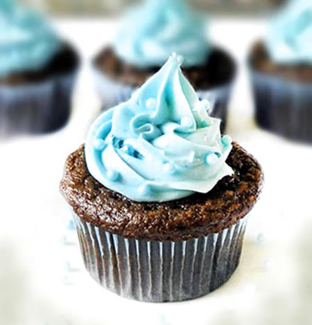 Blue Velvet Cupcakes for Baby Boy Shower