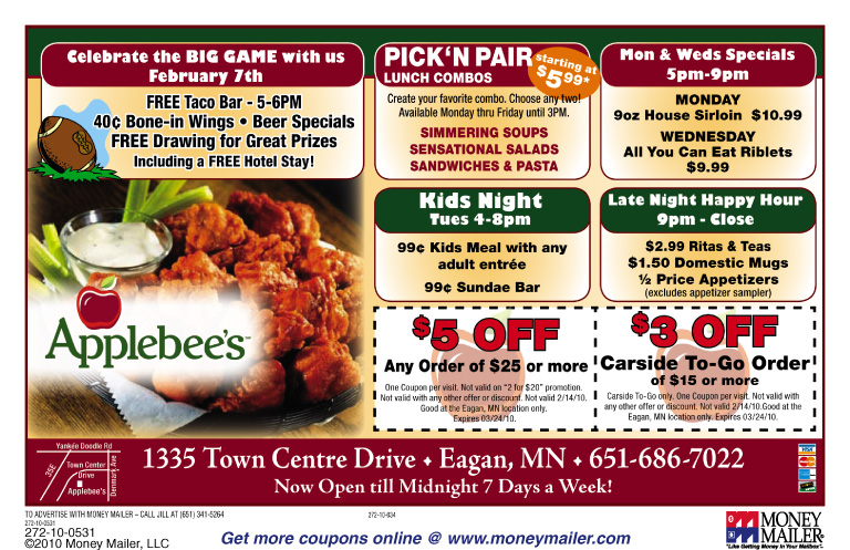 Applebees coupons printable july 2018