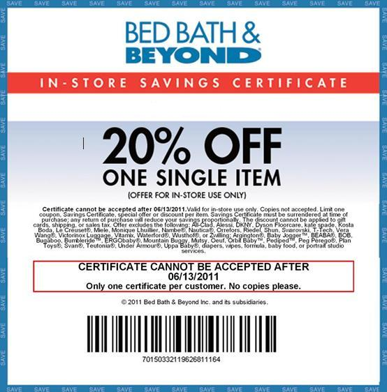Bed bath and beyond 20 percent off online coupon code